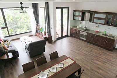 Huge terrace, beautiful 03BRs penthouse for rent in Xom Chua, Tay Ho