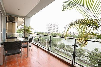 Lake front 02+1BRs duplex apartment on Xuan Dieu with nice terrace