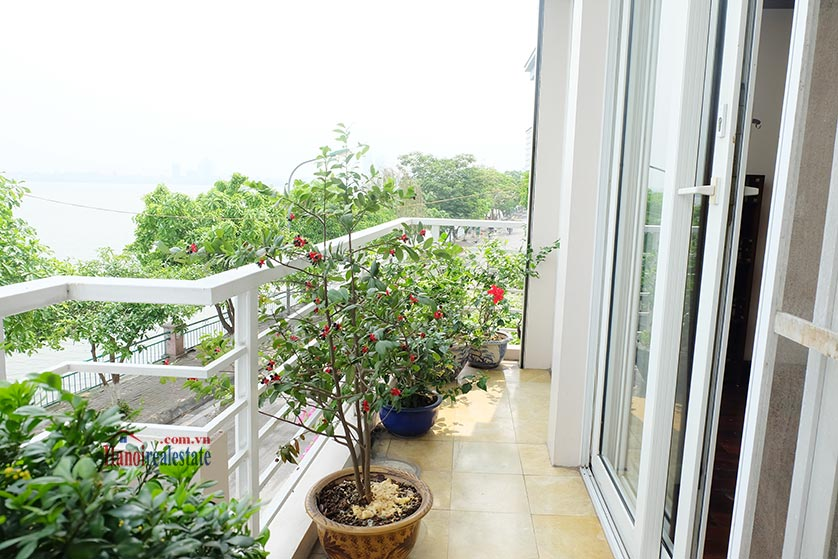 Lake front 04BRs house for rent at Nguyen Dinh Thi St, Ba Dinh District 11