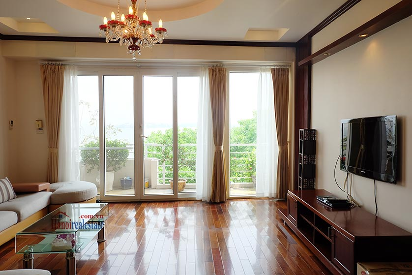 Lake front 04BRs house for rent at Nguyen Dinh Thi St, Ba Dinh District 6