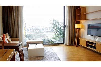 Lake view 1-bedroom apartment for rent in Ba Dinh, close to Lotte Center Hanoi