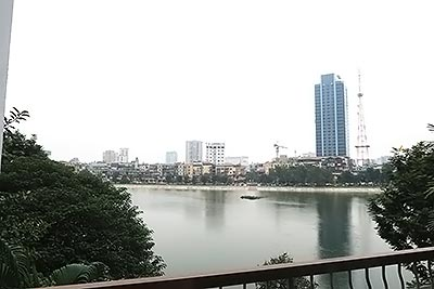 Lake view 01BR serviced apartment at Pham Huy Thong St, balcony