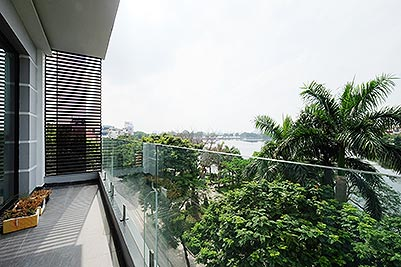 Lake view 2 bedroom apartment in Truc Bach, modern style & balcony