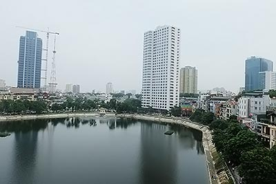 Lake view 2 BR serviced apartment for rent in Pham Huy Thong, Ba Dinh