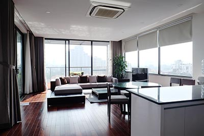 Top floor serviced apartment to rent in Tay Ho Westlake, spacious terrace