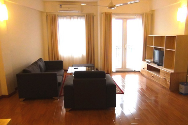 Two bedroom lake view apartment for rent in Pham Huy Thong str, Ba Dinh Dist.