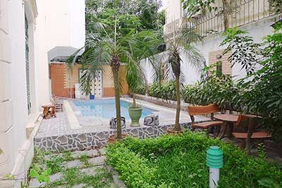 Villa for rent in Tay Ho, Hanoi, outdoor pool, large courtyard and terrace